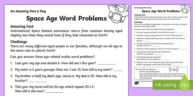 Space Age Word Problems Activity Sheet, worksheet