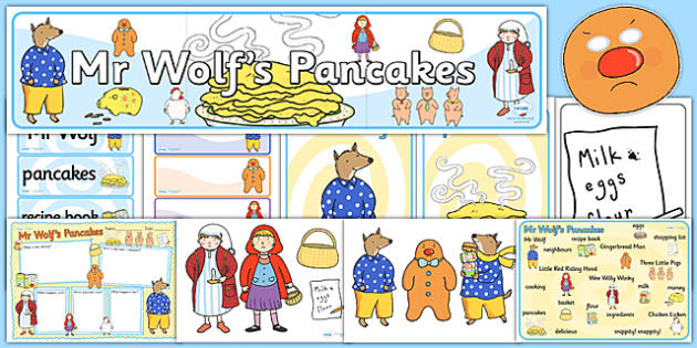 Story Sack to Support Teaching on Mr Wolf's Pancakes - mr wolfs pancakes, stories, story