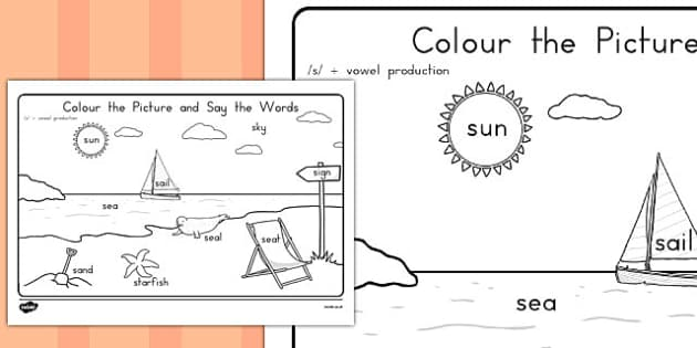 Word Inital s Production Colouring Scene - phonics, australia, colour, fine motor skills, english