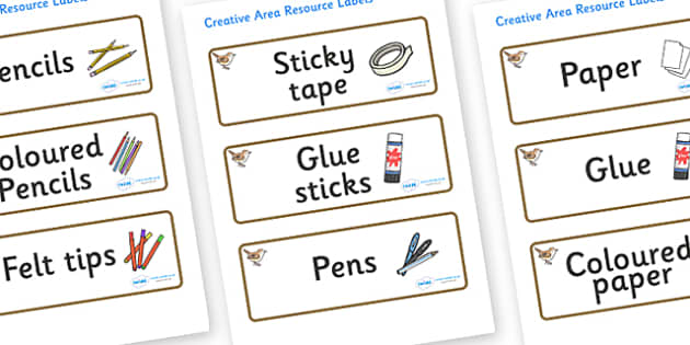 Wren Themed Editable Creative Area Resource Labels - Themed creative resource labels, Label template, Resource Label, Name Labels, Editable Labels, Drawer Labels, KS1 Labels, Foundation Labels, Foundation Stage Labels