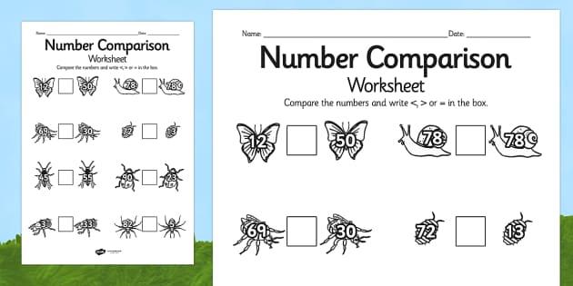 Minibeast Number Comparison Worksheets Differentiated - minibeast