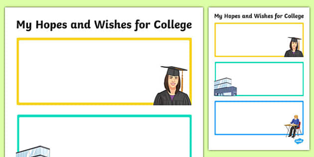 My Hopes and Wishes for College Activity Sheet, worksheet