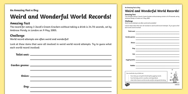 Weird and Wonderful World Records Activity Sheet - amazing fact a day, activity sheet, activity, activities, weird, wonderful, world records, worksheet