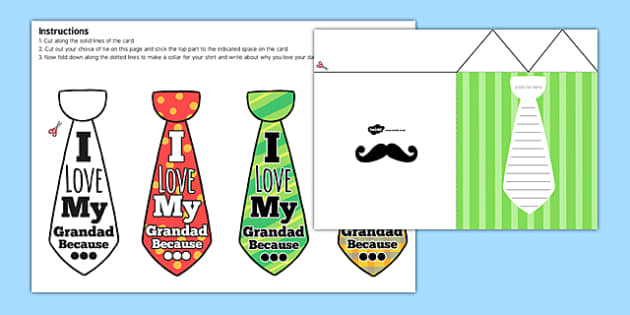 Grandad Flap Tie Card Craft - granddad, flap tie, card, craft, flap, tie