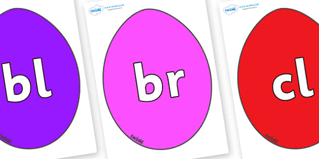 Initial Letter Blends on Easter Eggs (Plain) - Initial Letters, initial letter, letter blend, letter blends, consonant, consonants, digraph, trigraph, literacy, alphabet, letters, foundation stage literacy