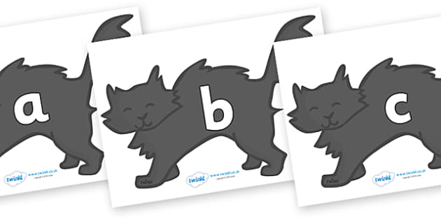 Phase 2 Phonemes on Black Cats - Phonemes, phoneme, Phase 2, Phase two, Foundation, Literacy, Letters and Sounds, DfES, display