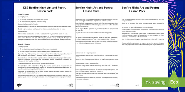 Bonfire Night Creativity Lesson Pack
