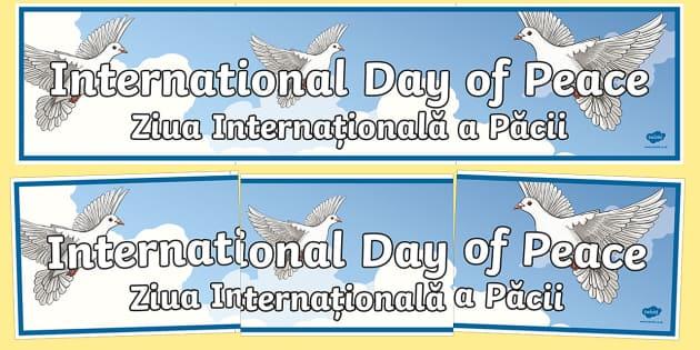 International Day of Peace Display Banner English/Romanian