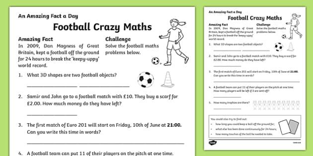 Football Crazy Maths Activity Sheet, worksheet