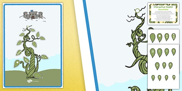 Beanstalk Climb EYFS Interactive Poster and Prompt Card Pack - Jack and the Beanstalk, Numbers, Sequencing