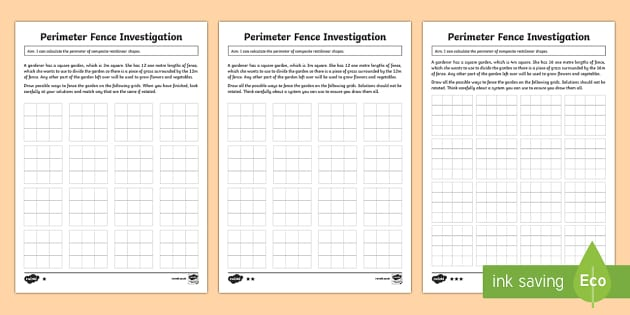 Year 5 Perimeter of Composite Rectilinear Shapes Investigation Differentiated Activity Sheets