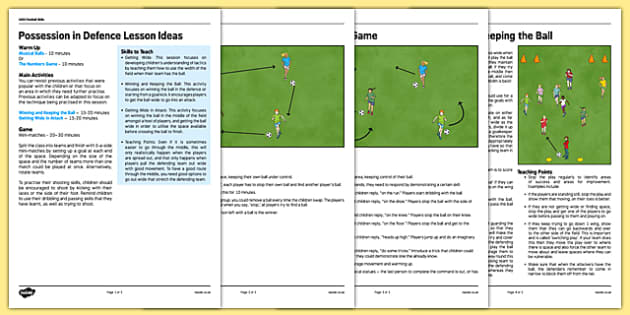 UKS2 Football Skills 4 Possession in Defence Lesson Pack - football, PE, sport, exercise, KS2, UKS2, Key Stage 2, year 5, year 6, skills, physical education, ball skills, team sports