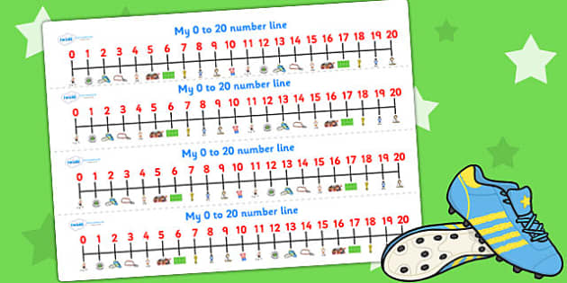 Football World Cup Number Lines pdf 20 - football, sports, number