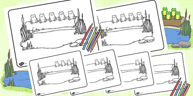 Five Little Speckled Frogs Colouring Pages - worksheets, colour