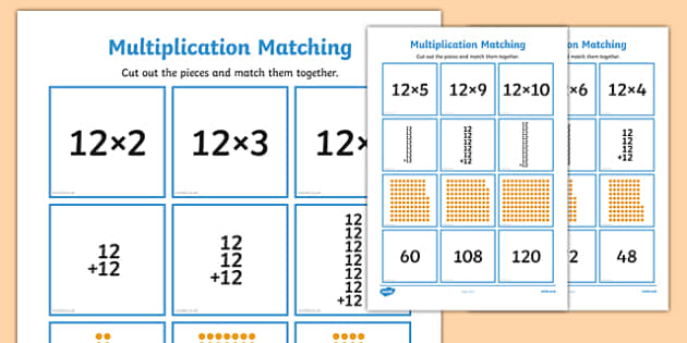 12 Times Table Multiplication Matching Puzzle - times table, multiplication, matching, puzzle, match, maths, numeracy, 12