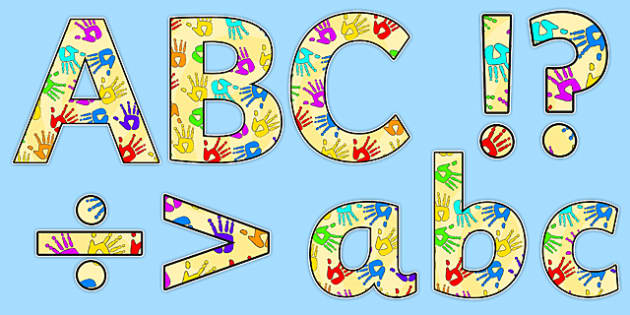 Display Lettering & Symbols (Handprints) - Display lettering, display letters, alphabet display, letters to cut out, letters for displays, coloured letters, coloured display, coloured alphabet