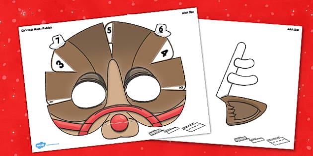 3D Christmas Rudolf Mask Printable - 3d, christmas, rudolf, mask, printable