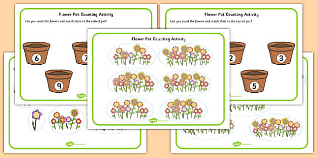 Flower Pot Counting Cut and Stick Activity Up to 20 - colourful, fun, early years, ks1, key stage 1, twenty, adding, subtracting, visual aid,