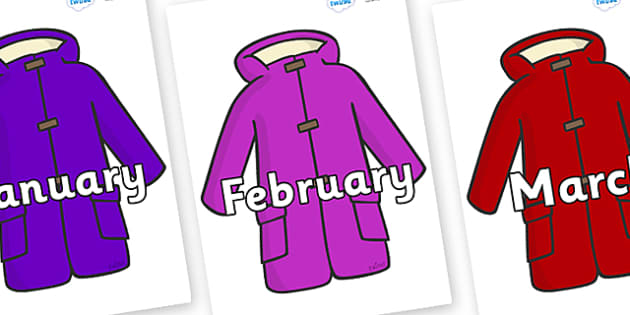 Months of the Year on Coats - Months of the Year, Months poster, Months display, display, poster, frieze, Months, month, January, February, March, April, May, June, July, August, September