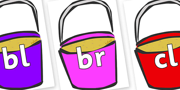 Initial Letter Blends on Buckets - Initial Letters, initial letter, letter blend, letter blends, consonant, consonants, digraph, trigraph, literacy, alphabet, letters, foundation stage literacy