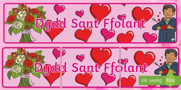 Baner Arddangosfa Dydd Sant Ffolant - WLW Dydd San Ffolant (St Valentine's Day 14.2.17), baner Dydd Sant Ffolant,Welsh