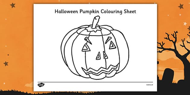 Halloween Pumpkin Colouring Sheet - Halloween, colouring, colour, sheet, activity, pumpkin , witch, bat, scary, black cat, mummy, grave stone, cauldron, broomstick, haunted house, potion, Hallowe'en