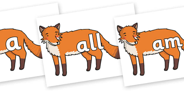 Foundation Stage 2 Keywords on Gingerbread Man Fox - FS2, CLL, keywords, Communication language and literacy,  Display, Key words, high frequency words, foundation stage literacy, DfES Letters and Sounds, Letters and Sounds, spelling