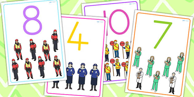 People Who Help Us Number Flashcards - flash cards, word cards