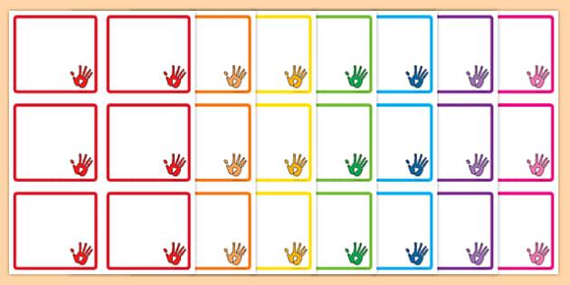 Handprint Themed Square Peg Labels