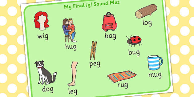 Final G Sound Word Mat - final, g, sound, word, mat, word mat
