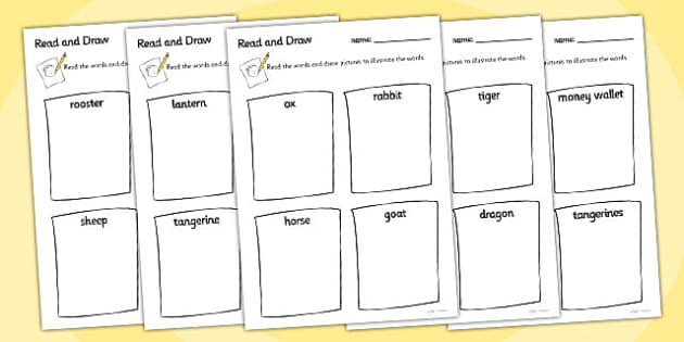 Chinese New Year Read And Draw Worksheet - chinese new year, read, draw