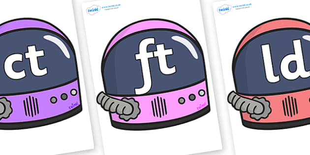 Final Letter Blends on Astronaut Helmets - Final Letters, final letter, letter blend, letter blends, consonant, consonants, digraph, trigraph, literacy, alphabet, letters, foundation stage literacy
