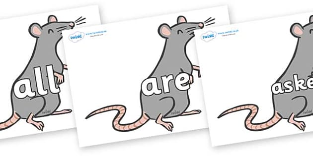 Tricky Words on Rats - Tricky words, DfES Letters and Sounds, Letters and sounds, display, words