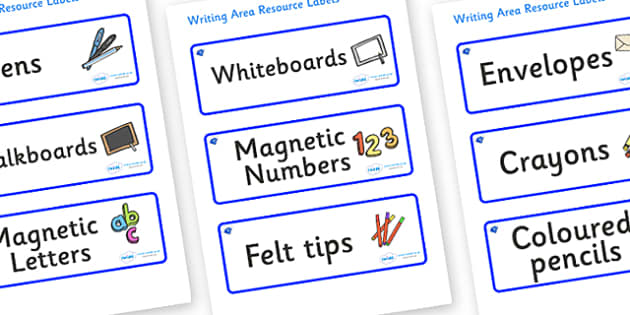 Sapphire Themed Editable Writing Area Resource Labels - Themed writing resource labels, literacy area labels, writing area resources, Label template, Resource Label, Name Labels, Editable Labels, Drawer Labels, KS1 Labels, Foundation Labels, Foundati