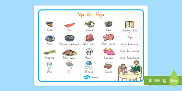 Ngā kai hapa - Dinner Foods Word Mat