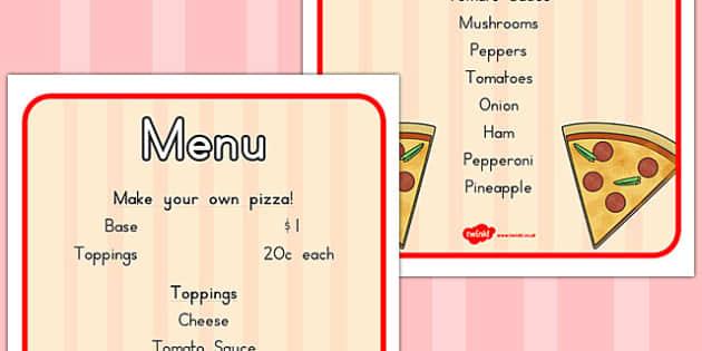 Pizza Shop Menu - pizzas, takeaway, shops, menus, fast, list