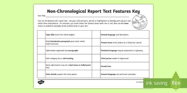 LKS2 Features of a Non Chronological Report Text Checklist - ks2