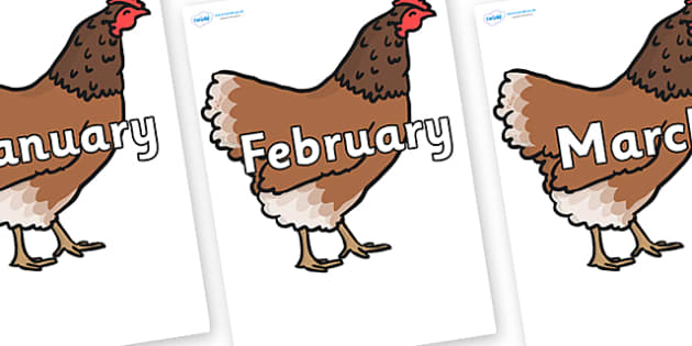 Months of the Year on Hen - Months of the Year, Months poster, Months display, display, poster, frieze, Months, month, January, February, March, April, May, June, July, August, September