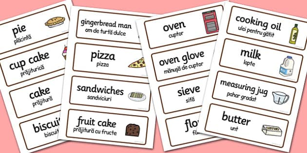 Bakery Word Cards Romanian Translation - romanian, bakery, word cards
