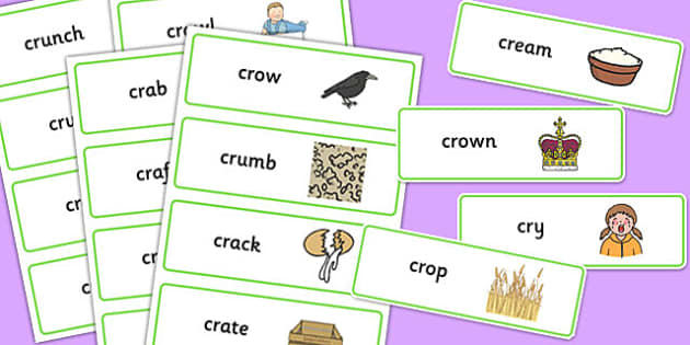 CR Word Cards - sen, sound, special educational needs, cr, word cards