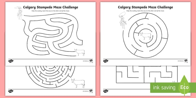 Calgary Stampede Maze Activity Sheet - Calgary Stampede Resources, maze, celebration, cowboy, cowgirl, rodeo, lasso, cow.
