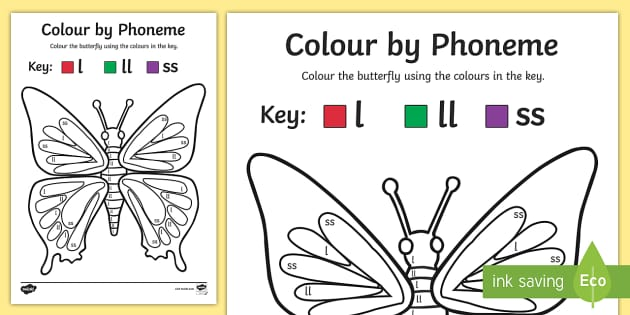 Colour by Phoneme Butterfly Phase 2 l ll ss - phoneme, phase 2
