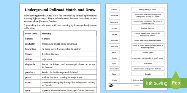 Underground Railroad Match and Draw - Black History Month in Canada, civil rights, underground railroad, social studies.
