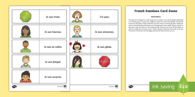 CfE French Emotions Card Game - French Games, French emotions, French feelings, French phrases, language games, feelings, emotions,S