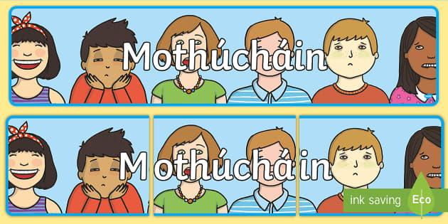 Emotions Display Banner Gaeilge - Requests - ROI, Irish, Gaeilge, Mé Féin, myself, feelings, emotions, mothúcháin,Irish