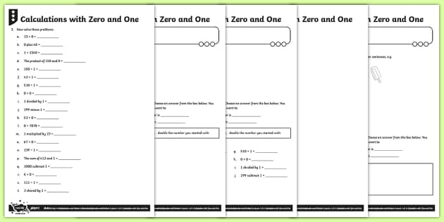 Multiplying by 0 and 1 and Dividing by 1 Activity Sheets - Y4 Multiplication and Division Planit Maths, multiply, groups of, lots of, product, times, sets of,