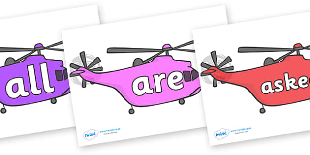 Tricky Words on Helicopters - Tricky words, DfES Letters and Sounds, Letters and sounds, display, words