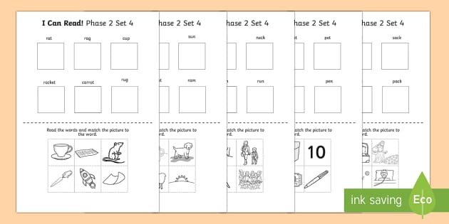 I Can Read Phase 2 Set 4 Words Activity Sheet - activity, phase 2, worksheet