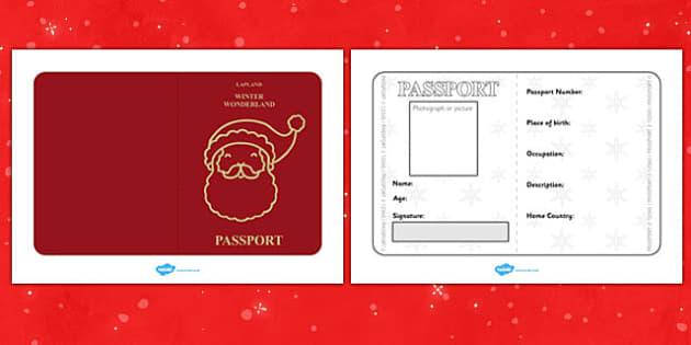 Father Christmas Passport Writing Frame - christmas, passport