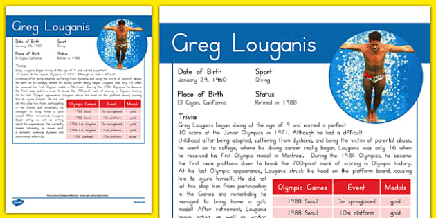 USA Olympians Greg Louganis Fact File